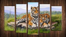 Картина модульная HolstArt Пара тигров 55*100,5см 5 модулей арт.HAB-185