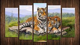Картина модульная HolstArt Пара тигров 71*128см 5 модулей арт.HAB-174