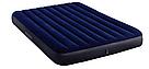 Надувной матрас двухместный Intex 64765 синий с двумя подушками и насосом в комплекте 203х152х25 см, фото 3