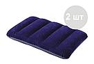Надувной матрас двухместный Intex 64765 синий с двумя подушками и насосом в комплекте 203х152х25 см, фото 5
