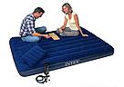 Надувний матрац двомісний Intex 64765 синій з двома подушками і насосом в комплекті 203х152х25 см, фото 6