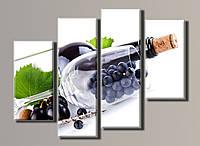 Картина модульная HolstArt Виноград в бокале 78*102см 4 модуля арт.HAF-042