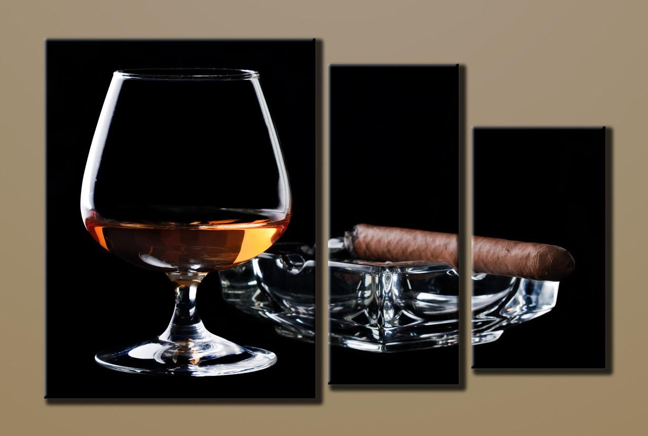 Картина модульна HolstArt Коньяк з сигарою 54*85см 3 модуля арт.HAT-003
