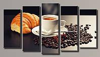 Картина модульная HolstArt Кофе с круасаном 3 71*128см 5 модулей арт.HAB-075