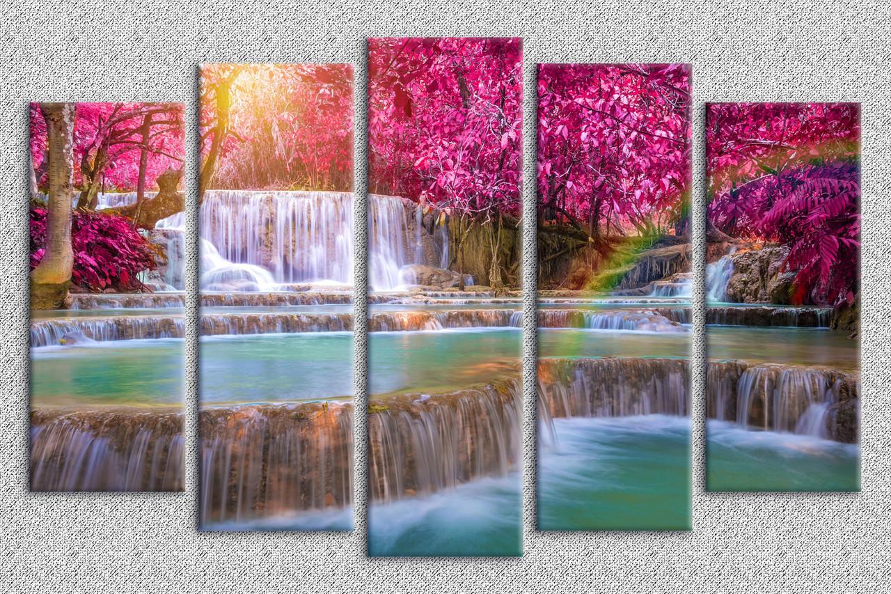Картина модульная HolstArt Розовый водопад 60*100см 5 модулей арт.HAB-146