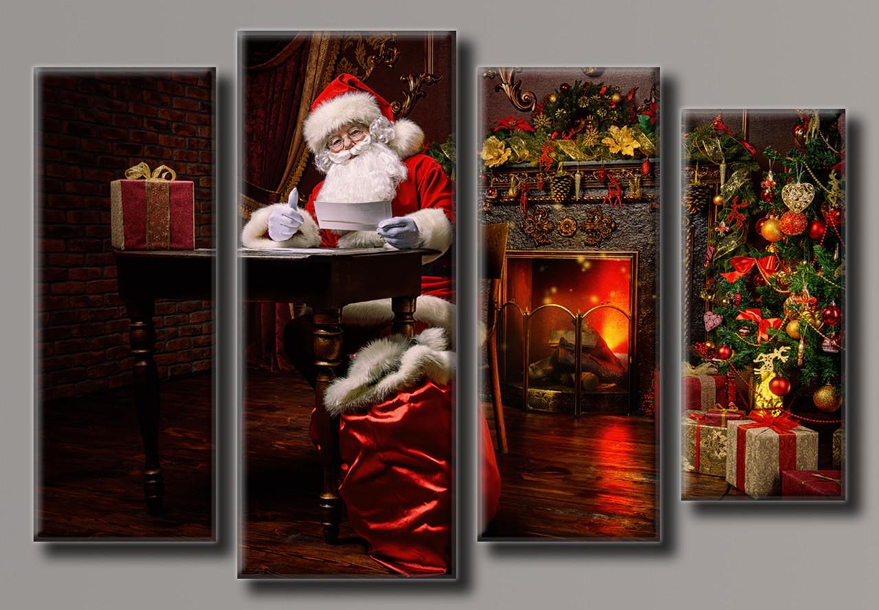 Картина модульна HolstArt Санта-Клаус 2 новорічна 60*89,5 см 4 модуля арт.HAF-132