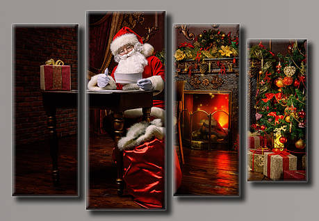 Картина модульна HolstArt Санта-Клаус 2 новорічна 60*89,5 см 4 модуля арт.HAF-132, фото 2
