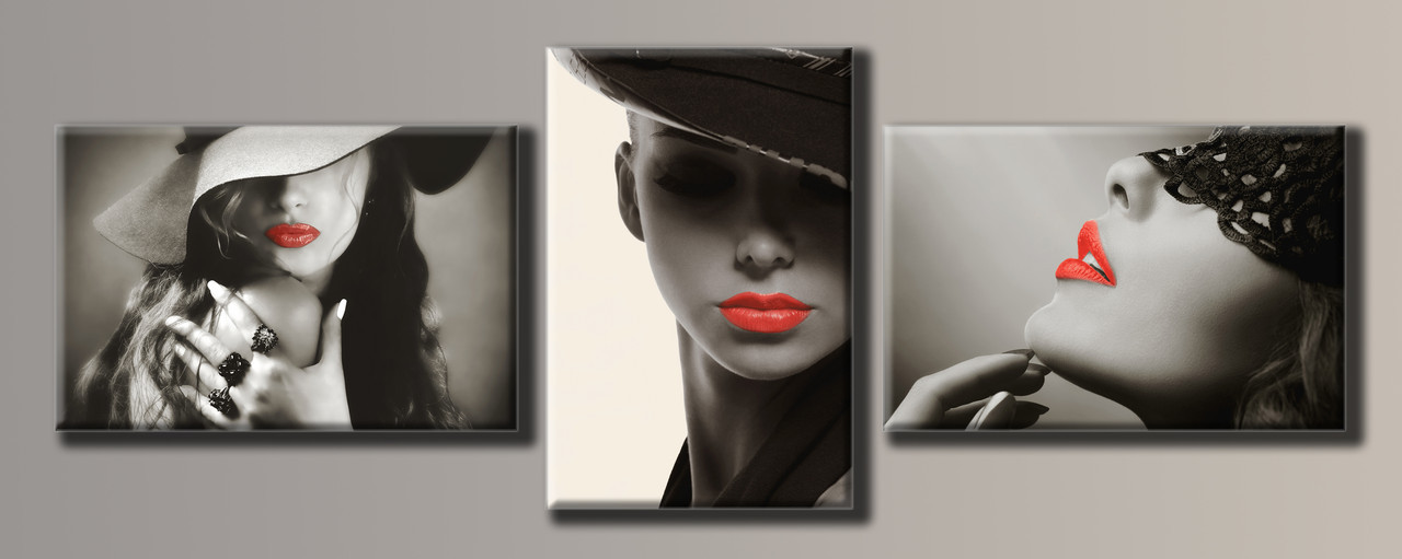 Картина модульна HolstArt Стильні пані 55*152,5 см 3 модуля арт.HAT-129