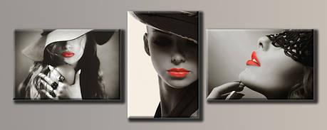Картина модульна HolstArt Стильні пані 55*152,5 см 3 модуля арт.HAT-129, фото 2