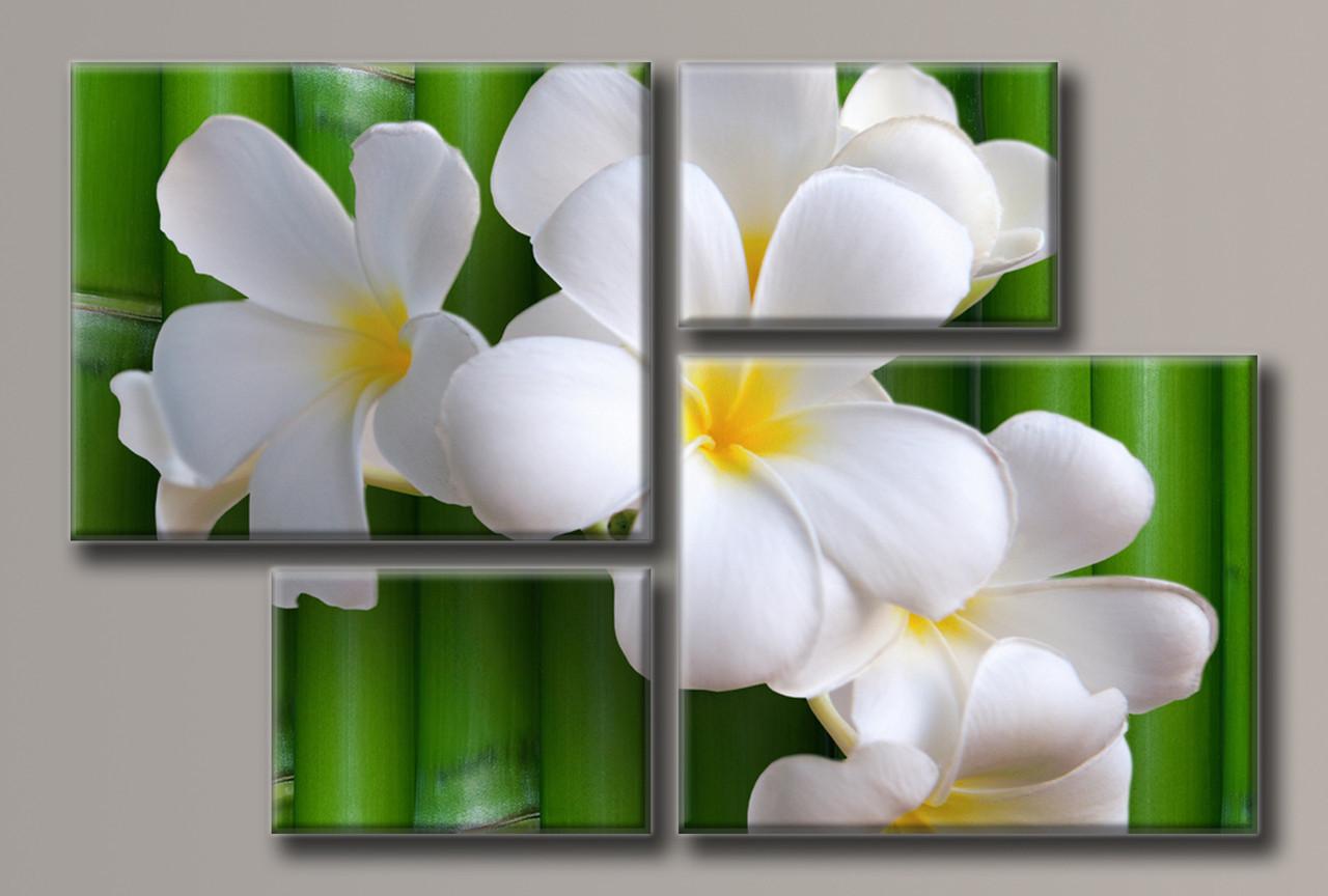 Картина модульная HolstArt Цветы на бамбуке 69,5*106,5см 4 модуля арт.HAF-095