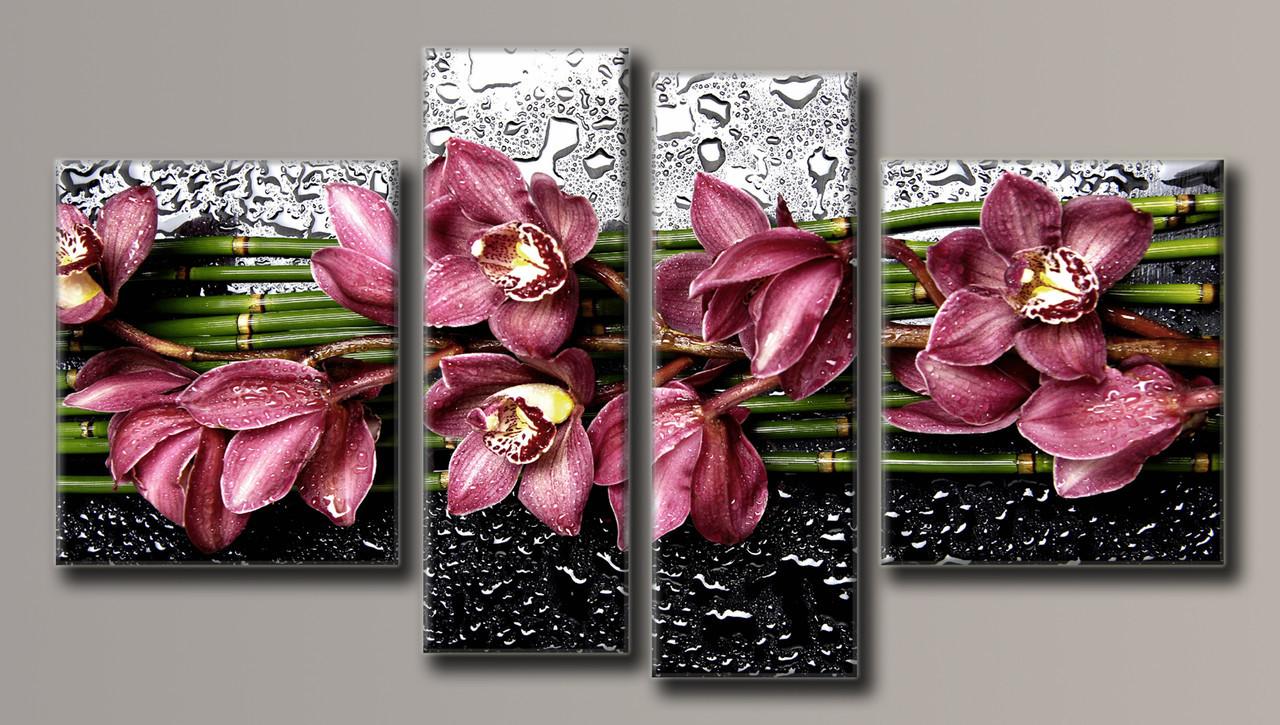 Картина модульна HolstArt Квіти на склі 55*100,5 см 4 модуля арт.HAF-123