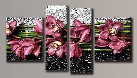 Картина модульна HolstArt Квіти на склі 55*100,5 см 4 модуля арт.HAF-123, фото 2