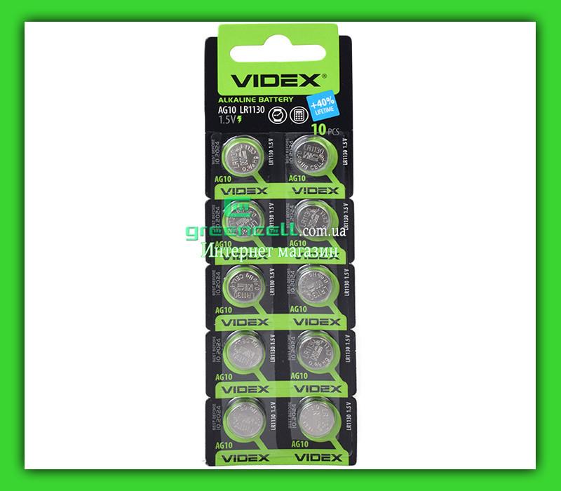 Батарейка часовая Videx AG10 / LR1130/ G10/ LR54/ 189/ GP89A/ 389/ SR1130W