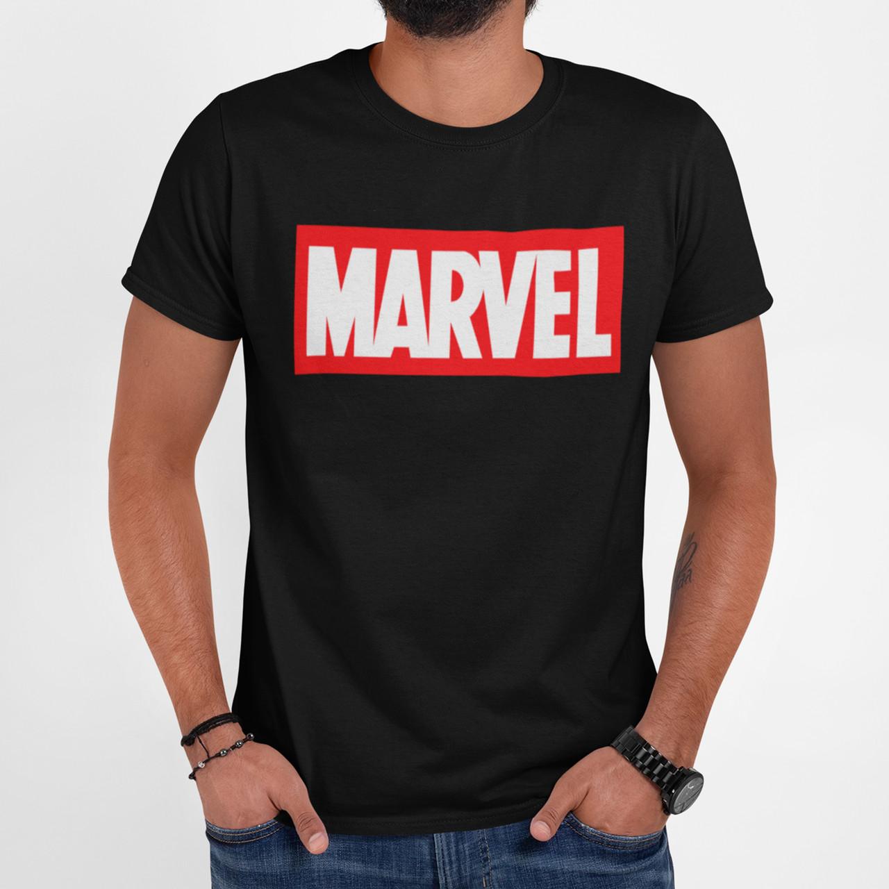 """Футболка чоловіча чорна з принтом """"Marvel"""""""