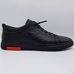 Мужские кожаные полуботинки кеды Boss Victor черные K0026/26