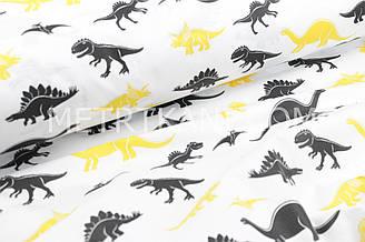"""Ткань хлопковая  """"Динозавры"""" черно-желтые на белом фоне №1684"""