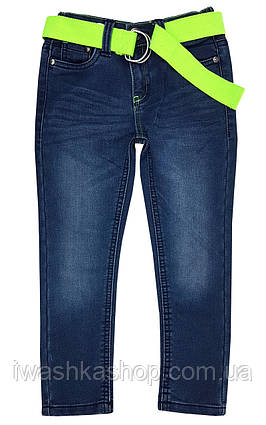 Модные синие джинсы slim с ярким поясом на мальчика 3 - 4 лет, р. 104, Kiki&Koko / KIK