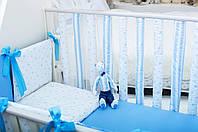 Защита-бортики Хлопковые традиции 15*50 см поплин в кроватку детские 6 шт арт.Смурфики (Фенс-Защита-бортики)