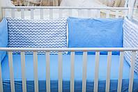 Защита-бортики Хлопковые традиции 40*60 см поплин в кроватку детские 3 шт арт.Смурфики (Бисквит)