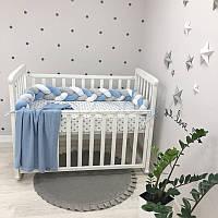 Бортик-коса Маленькая соня 120 см велюр в кроватку детский белый-серый-голубой арт.0762242