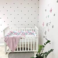 Бортик-коса Маленькая соня 180 см велюр в кроватку детский белый-мятный-розовый арт.0763240