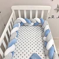 Бортик-коса Маленькая соня 180 см велюр в кроватку детский белый-серый-голубой арт.0763242