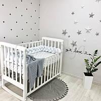 Бортик-коса Маленькая соня 220 см велюр в кроватку детский белый арт.0758239