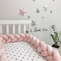 Бортик-коса Маленькая соня 220 см велюр в кроватку детский пудра арт.075879