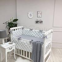 Комплект защита-бортики Маленькая соня Корона поплин в кроватку стандарт защита+простынь детский серебро арт.0700273