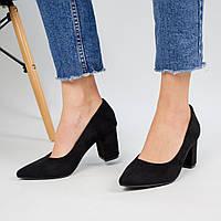 Женские туфли лодочки Lino Marano широкий каблук невысокие эко-замша черные