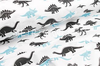 """Ткань хлопковая  """"Динозавры"""" черно-бирюзовые на белом фоне №1685"""