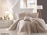 Комплект постельного белья First Choice Nirvana Ranforce ранфорс с пледом евро арт.Excellent ekru