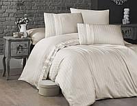 Комплект постельного белья First Choice Satin Cotton Deluxe сатин евро арт.New Trend Krem
