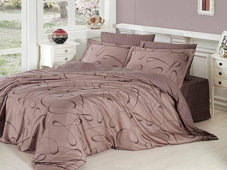Комплект постельного белья First Choice Satin Cotton Евро сатин арт.Calisto vizon, фото 2