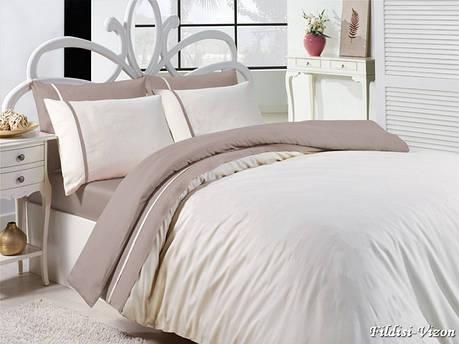 Комплект постільної білизни First Choice Satin Cotton сатин євро арт.Fildisi vizon, фото 2