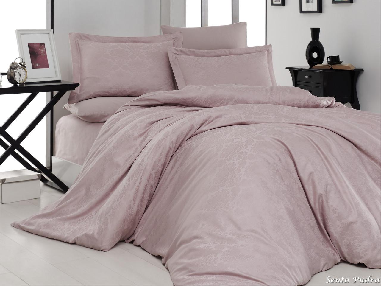 Комплект постільної білизни First Choice Satin Jacquard Cotton сатин-жаккард євро арт.Senta Pudra