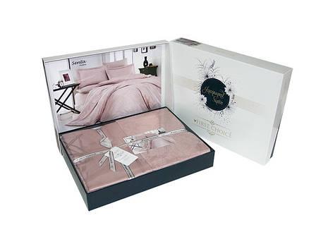 Комплект постільної білизни First Choice Satin Jacquard Cotton сатин-жаккард євро арт.Senta Pudra, фото 2