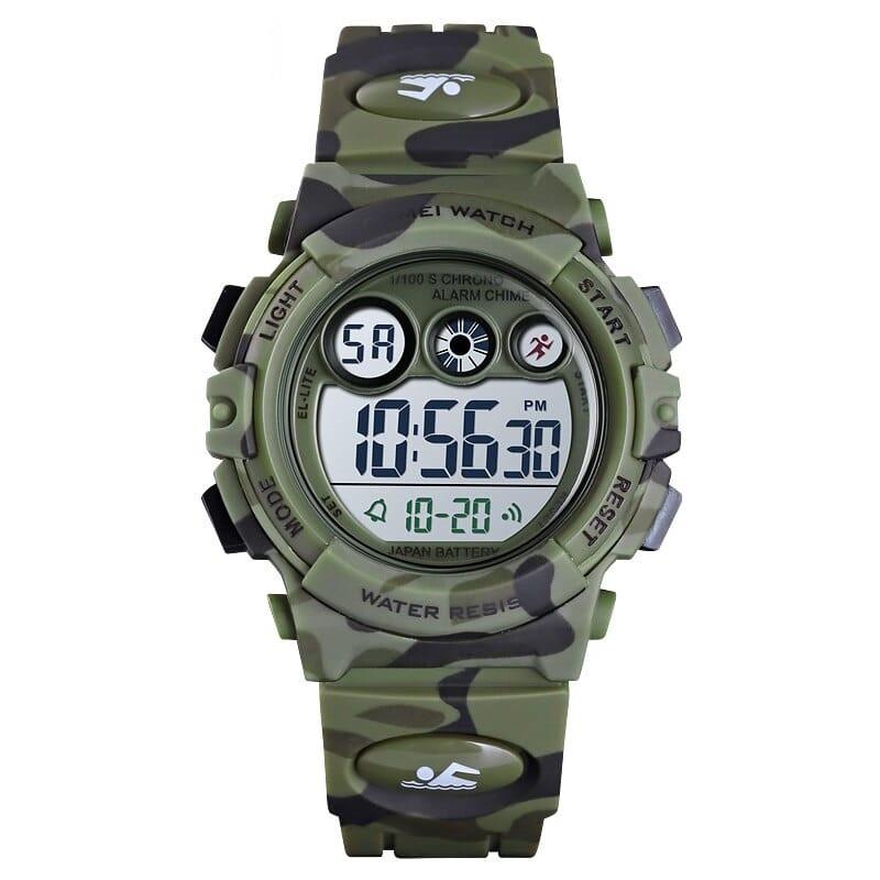 Skmei 1547 kids зеленый камуфляж детские спортивные часы
