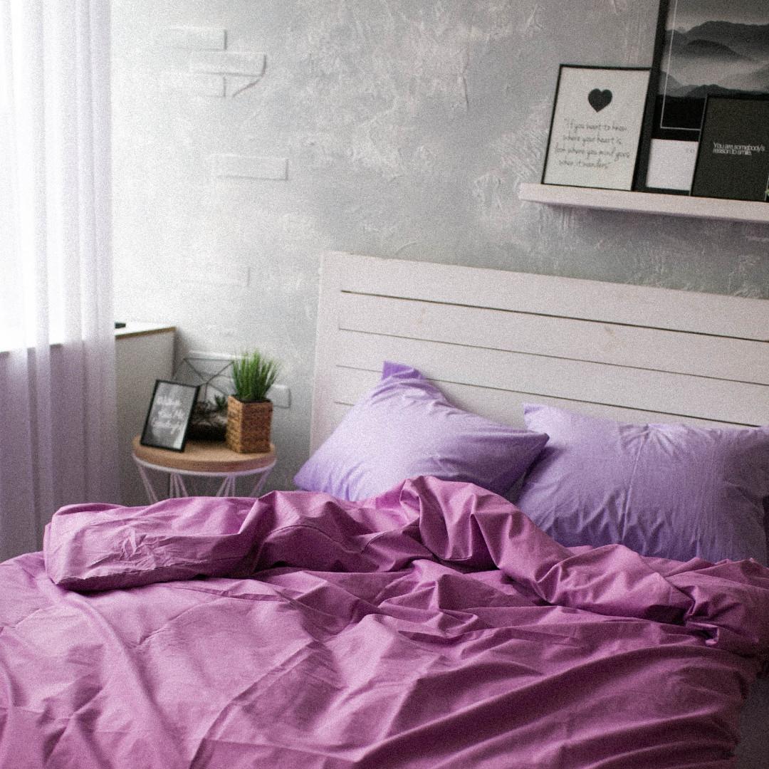 Комплект постельного белья Хлопковые традиции Евро поплин лаванда-сирень арт.PF03