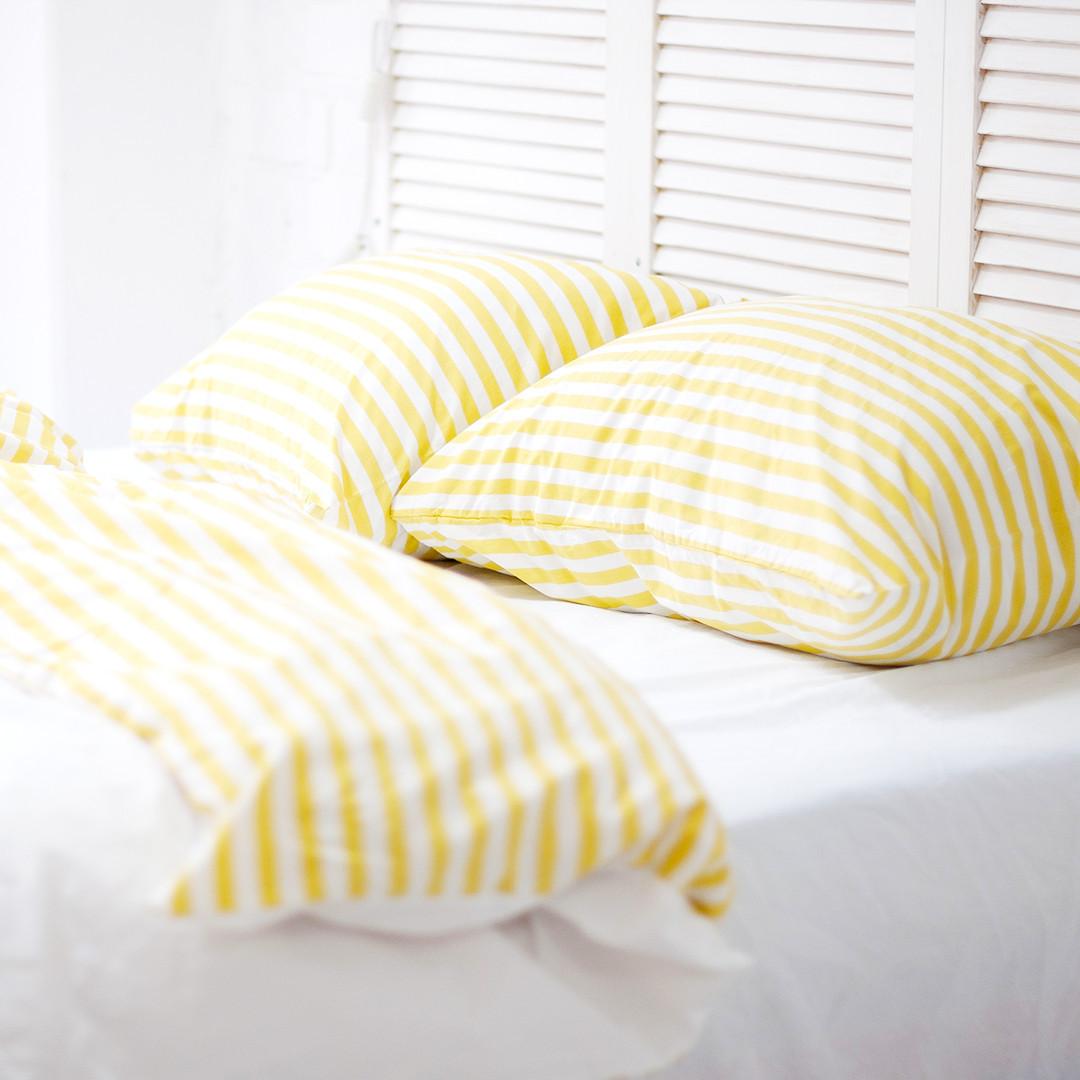 Комплект постельного белья Хлопковые традиции Евро поплин молочно-белый/желтая полоса арт.PF57
