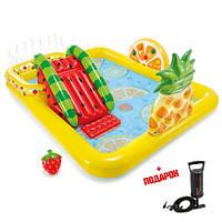 Детский надувной бассейн Intex с горкой - Игровой центр Веселые Фрукты