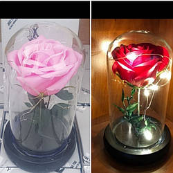 Вечная роза в колбе с LED подсветкой красная