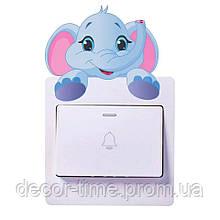 Наклейки для детского сада на стену, включатель, выключатель, розетку Голубой слоник  V746