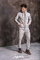 Мужской трикотажный спортивный костюм adidas штаны и кофта с капюшоном серый 46 48 50 52 54 56 58, фото 1