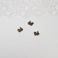"""Металлическая подвеска """"Сердце Lovely"""" бронза, 15 мм, фото 1"""