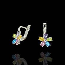 Серебряные серьги Пять цветов с фианитами 82075 Selenit