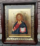 Икона писаная Господь Вседержитель в деревянном киоте., фото 2