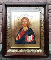 Икона писаная Господь Вседержитель в деревянном киоте.