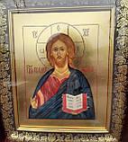 Икона писаная Господь Вседержитель в деревянном киоте., фото 3