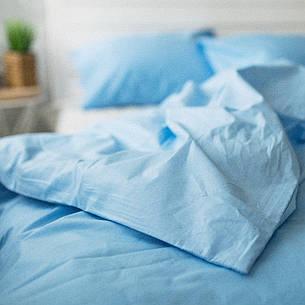 Комплект постельного белья Хлопковые традиции полуторный поплин звезды на белом/голубой арт.PF23, фото 2